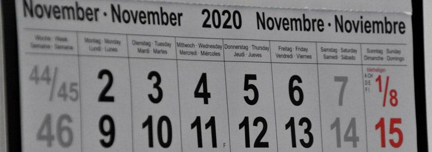Calendario Eventi Sportivi Novembre 2020