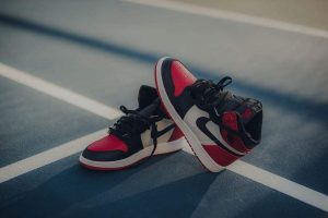 Pair Of Black White And Red Air Jordan 1 Shoes